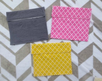 Reusable Snack/ Sandwich Bag, Cotton or Vinyl Lined Cotton with Velcro Closure for Wet or Dry Snacks on the Go.  Pink, Yellow or Grey.