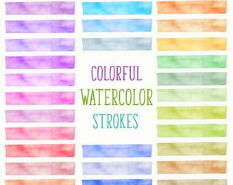 Watercolor Brush Strokes,Colorful Watercolor Stroke,Watercolor Paint Strokes Clipart,Rainbow Watercolor Clipart,Pink,Red,Blue,Green