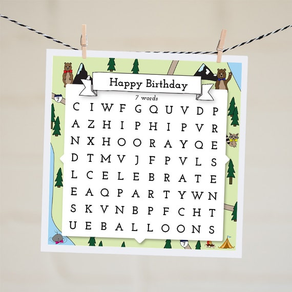 Happy Birthday Word Search Card Birthday Card By