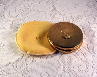 Vintage 1950's Compact Charles of the Ritz Round Gold Tone Powder Compact With Mirror Cloth Protective Bag