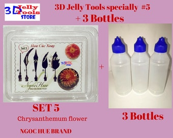 3D Jelly Tools specially-Type 5-Chrysanthemum flower and 3 Bottle