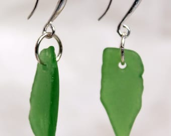 Genuine sea glass earrings in silver and green