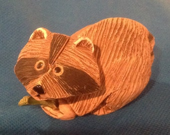 Vintage 1970's Artesania Rinconada Racoon with fish - Retired