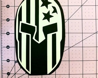 Spartan helmet decal etsy spartan helmet wamerican flag pattern pronofoot35fo Choice Image