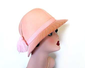 Vintage Pink Wool Hat w/Tassel~ Kurt Jr. by Tom Hann Circa 1970's
