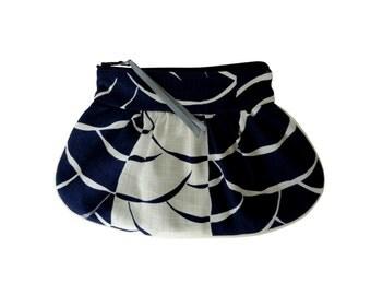 Blue and ecru Emmiko cosmetics bag