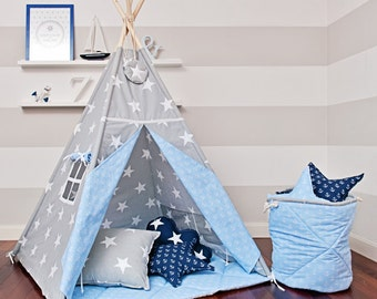 Teepee set with floor mat and pillows – Sea Breeze