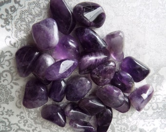 Amethyst Crystals, Deep Purple Tumbled Amethyst, Purple Stone, Third Eye Chakra
