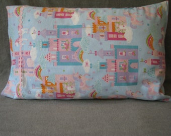 Castles, rainbows and unicorns cotton flannel standard size handmade pillowcase