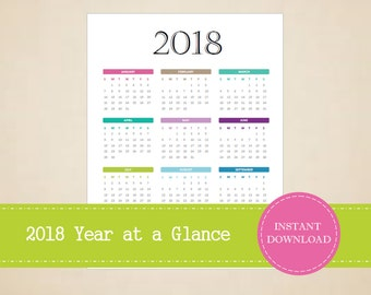 2018 Year At A Glance - Full Year Calendar - 2018 Calendar - INSTANT PDF DOWNLOAD