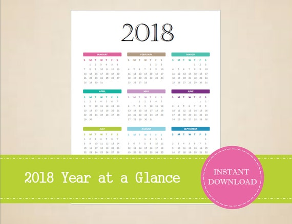 Year Calendar At A Glance : Year at a glance full calendar
