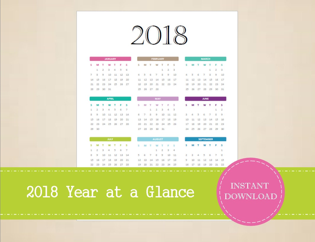 2018 year at a glance calendar free printable planner journal