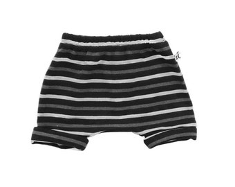 Striped Rolled Up Shorts / Black Stripe / Blue Stripe / Kids Shorts / Baby Shorts / Summer Shorts