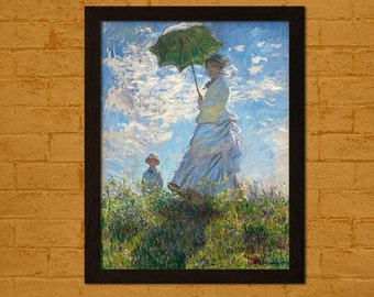 Claude Monet Print Madame Monet and Her Son 1875 - Printed On Textured Bamboo Paper Monet Poster Reproduction Print Gift Idea Monet Wall Art