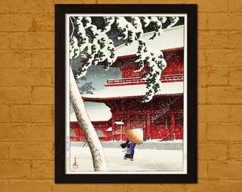 Bamboo Paper Japanese Art Print Zojo Temple, Shiba Hasui Ukiyo-e Print Wall Edo Period Japanese Poster Japanese Artists