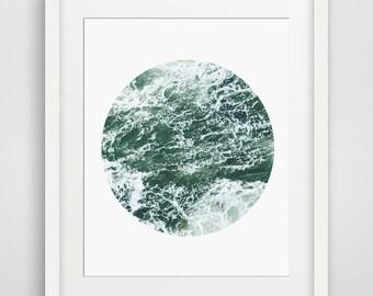 Ocean Waves, Ocean Decor, Waves, Ocean, Printable Art, Trending Art, Circle, Beach Waves, Teal, Blue, Beach Decor, Beach Print, Digital Art