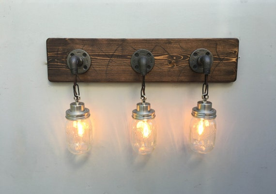 Vanity Light Fixture 3 Country-Style Mason Jar Light Wall
