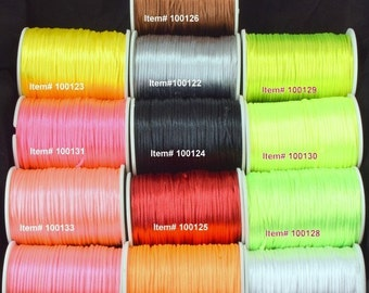 2mm Satin Nylon Cord 13 Colors for all your jewelry making