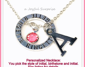 Personalized Ringette Necklace, Ringette Jewellry, Gift for Ringette Player Charm Silver Ringette Circle Charm