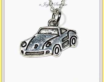 Necklace for Little Boy, Teenage Guy Teen Teenager Sports Car Necklace, Race Silver Automobile Gift Man Jewelry Men Male Son Grandson 143