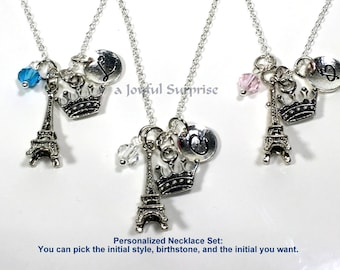 Stagette Necklaces, Set of 3 Best Friends Necklace, Staggette Gift, Paris Theme Party Jewelry,  Tiara Eiffel Tower initial birthstone 21890
