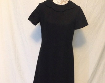 1960's Black Tweed Shift Dress with Scalloped Collar - vintage 1960's dress - 1960's dress