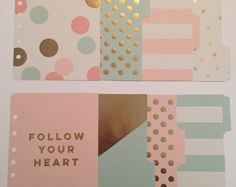 Mint & Pink Planner Dividers with Gold Foil