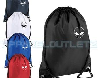 alien pocket logo drawstring backpack bag rucksack gym sports travel ufo swag dope hipster trend fashion new tumblr spaceship unisex