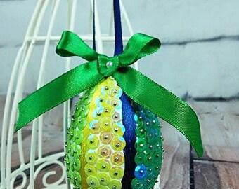 Sequins Easter Egg - Mix Green 7cm