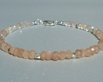 Moonstone Bracelet, Peach Moonstone, Rose Quartz Bracelet, Gemstone Bracelet, Dainty Bracelet
