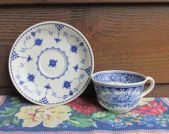 Flow Blue Transferware, Cup and Saucer, Petrus Regout, Furnivals, Holland Flow Blue, Holland Vintage Pottery