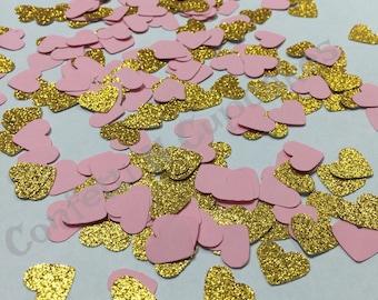 Heart confetti, Gold and Pink confetti, Gold Glitter Hearts, Pink Confetti, Table scatter, baby shower, wedding decoration, glitter confetti