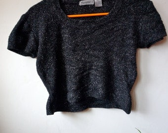Vintage 90s Fuzzy Shimmery Witchy Black Crop Top. Vintage 90s Club Kid Fuzzy Black Top.