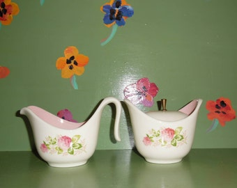 Taylor Smith Taylor Pink Flower Sugar Bowl Creamer Lid Gravy Boat Kitchen Dining Table Decor Ceramic China Vintage Shabby Chic Garden