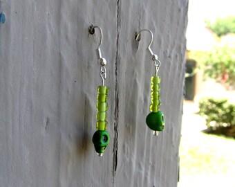 Light Green Skull Earrings