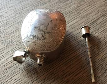Antique Silver Miniature Perfume Bottle Pendant Unguentarium RARE