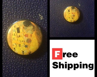 The Kiss, Gustav Klimt Painting Button Pin FREE SHIPPING & Coupon Codes