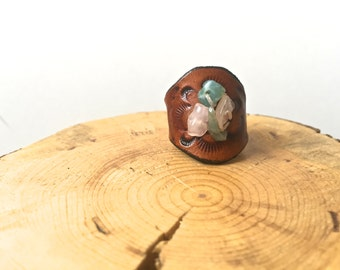 Pastel Stone Leather Ring