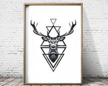 Stag Head Deer Head Wall Art Print Deer Print Deer Antlers Stag Print Animal Print