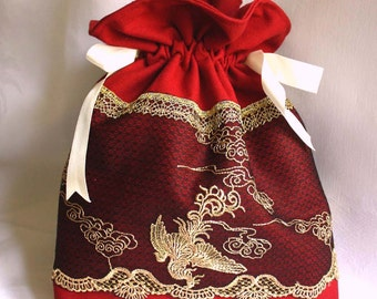 Burgundy bag, pouch, black tulle, embroidered Gold Phoenix Bird, cotton fabric, ivory satin ribbon, french touch