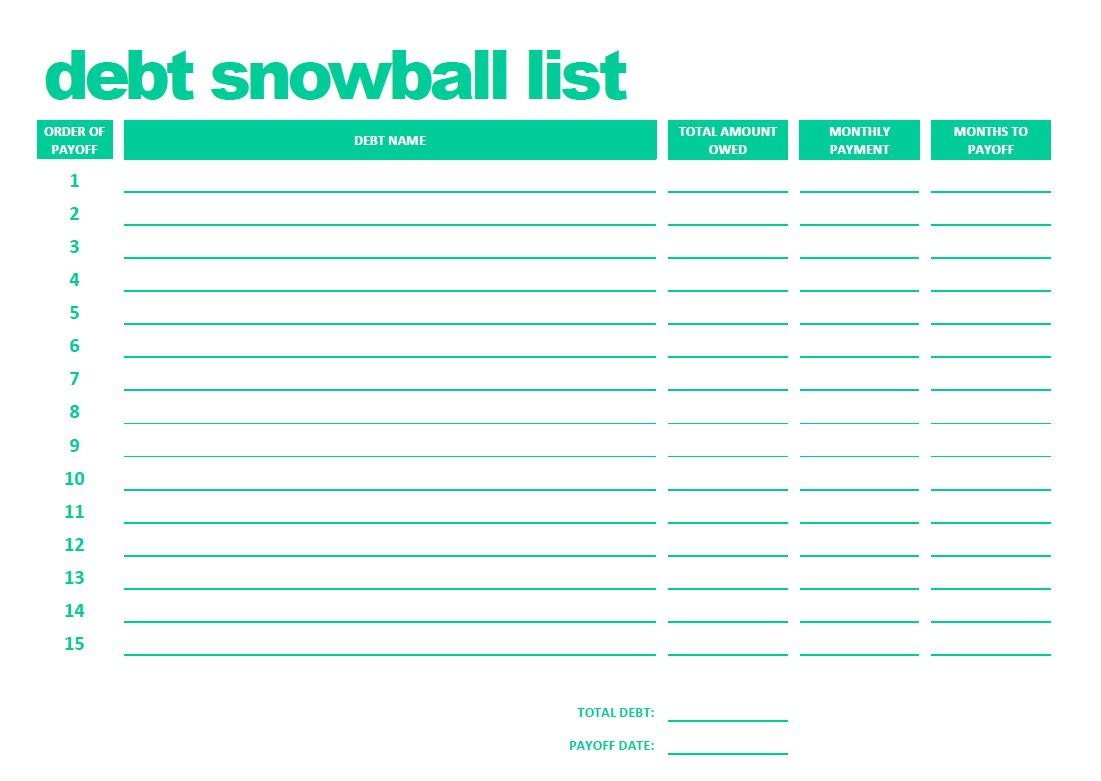 Debt snowball pdf – Snowball Debt Worksheet