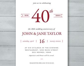 Anniversary Party Invitation  |  Wedding Anniversary Party Invitation  |  Anniversary Invite