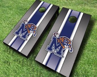 Officially Licensed Memphis Tigers Striped Cornhole Set with Bags - Bean Bag Toss - Memphis Cornhole - Corn Toss - Corn hole