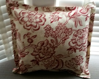 "Red Floral Flange Pillow Cover 19"" x 19"""
