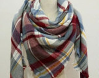 NEW*Red, Gray & Yellow Plaid Scarf
