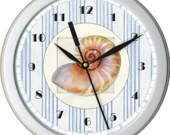 "Personalized Nautical Sea Shell 10"" Wall Clock Blue and White Ticking Home Decor Bathroom Osean"