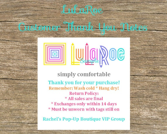 50 lularoe customer thank you cards notes return policy and product