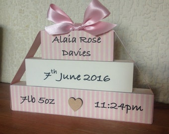 New Baby Birth Announcement Stack Plaque Gift