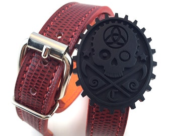 Bracelet strap double leather stitched & cameo