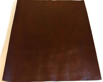 "Dark Old English Leather / Brown Leather / Red Brown Leather / Dark Brown Leather / Leather Fabric / Genuine Leather / 12.5"" x 12.5"""